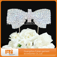 Engagement Fashion Wedding Crystal Rhinestone bowknot cake toppers for wedding decoration