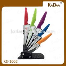 5pcs Colorful Handle Non-stick Kitchen Knife Set With Acrylic Block