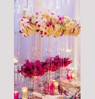 Folding Fashion Crystal Rectangle Acrylic Table Top Vase Stand Wedding Festival Decorations 8221411205