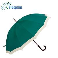 Top Grade Unique Edge Design Gift 12K Ribs Wooden Straight Umbrella