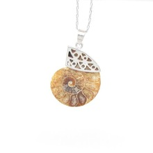 JF6637 Fashion Ammonite pendant,Silver Bail Ammonite Pendant