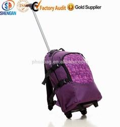 fashion purple school trolley bag multi backpack for teenager travel single trolley backpack