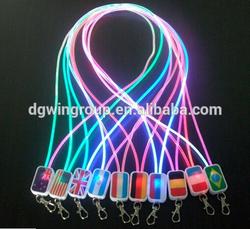 Transparent PU tube illuminated LED lanyard with metal buckle