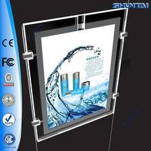Customized frameless hanging crystal LED light poster frame