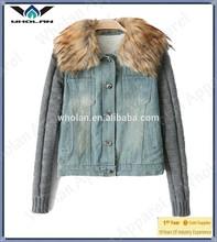 2014 Wholan new design women denim coat fur collar denim coat wholesale denim coat
