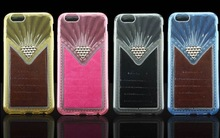 Hot selling leather mobile phone metal transparent diamond TPU soft cover case for iphone 6 6g i6