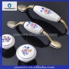 Flower length white ceramic cabinet porcelain handle