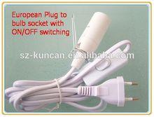 304type switch E14 socket salt lamp power cord UK/UL/VDE