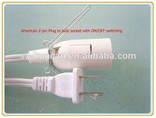 UK/UL/VDE plug on-off switch E12 socket salt lamp AC power cord