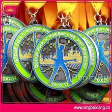 custom fashion enamel cheerleading metal medals wirth ribbon