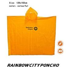 PE eco-friendly disposable outdoor rain poncho raincoat with logo printing