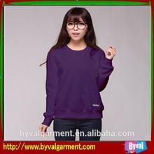 Custom lady pure purple color blank round neck fleece hoodie custom