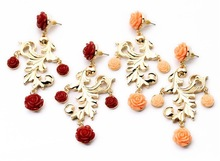 High Quality Gold Rose Dangle Earring,14k gold findings wholesale