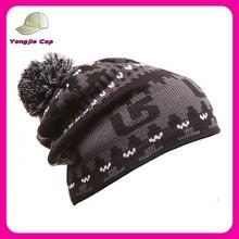 winter 100 acrylic Knit Slouchy beanie hat fashion ski hats with pom pom wholesale