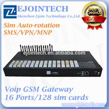 Hot sale Ejointech IMEI change/ SMS/MNP 128 sim 16 channels voip equipment