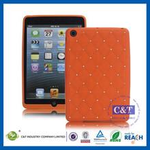 C&T Hot sale sublimation rhinestone silicon case for ipad mini