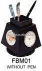 Quartz Wooden Table Clock With Pen Holder For Gift