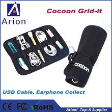 Novelty mini neoprene Cocoon elastic cable grid it organizer for USB cable Earphone Pen