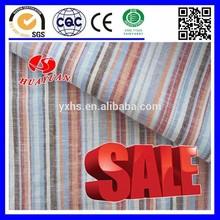 100% cotton red brown orange light blue stripe white fabric