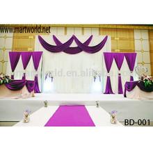 Decorative curtain fibric wedding backdrop decoration ,wedding stage decoration(BD-001)