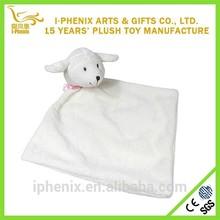 Best selling whitesheep shape plush baby comforter custom soft plush baby comforter