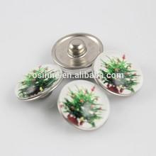 STOCK Alibaba China Fashion Christmas tree Button Charm Snap For Leather Bracelet For Christmas NAC0084
