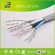 Ethernet & Coaxial Composite Cable; 2 CAT6 + 2 Quad RG6, 500ft Bulk Composite Cable