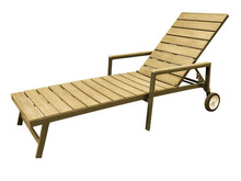 Aluminium Frame Wood-Look Plastic Slats Sun Lounge L91002