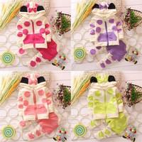 Baby Girls Kids Polka Dot Mickey SportsWear Suit Outfit Tracksuit Set