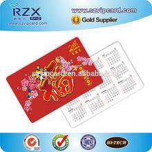 CR80 plastik pvc cep boyutu takvim kartı