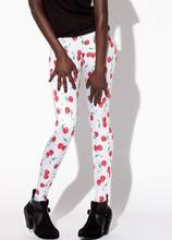 Top Sale Cute White Cherry Print Designer Leggings Womens Leggings