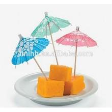 Wooden umbrella cocktail toothpicks