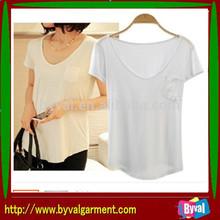Casual blank short t shirt/loose t shirt for women/plain blank t shirt
