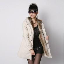 2014 new Fashion Women's/ Girl's fur Hoodies coats winter warm long coat cotton clothes overcoat 3450#