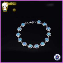 Bracelets, 925 silver blue opal bracelet inlaid opal opal white-collar joker wife his girlfriend a birthday gift