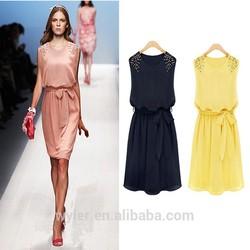 Wholesale New 2015 Summer Casual Dress Women Clothing Novelty Rivet Decorated Sleeveless Chiffon Dresses