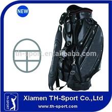 Hot sale golf bag 5 divider black pu staff bag