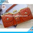 Fashion Retro iron clip PU latest lady clutches shouder bag