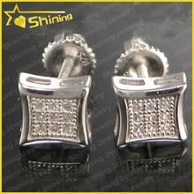 diamond micro pave 925 sterling silver screw back mens earrings screw