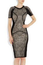 stock price and delivery quickly 2014 designer mid sleeve celebrity model dress party