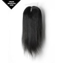 VV Hair Unprocessed Natural Color Yaki Virgin Human Silk Base Brazilian Hair Closure