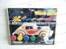 DIY wooden car pianting set