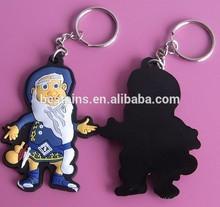 Christmas santa 3d soft pvc keychains, promotional gifts keyrings