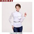 retro falbala manga comprida tops de renda elegante blusa whie para modelos de blusas partido