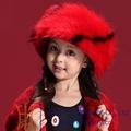 تصميم جديد وكبير 2015 أحمر الأطفال الشتاء قبعة من الفرو
