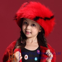 2015 New Design Big Red Children Winter Fur hat
