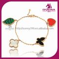 malachite shell trifoglio foglia farfalla a forma di cuore coloful fine braccialetto braccialetto di rame