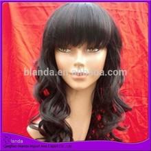Long black synthetic hair wig kanekalon fiber wig with bangs