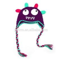Y493039 dark blue cute cartoon baby caps Knitted crocheted boutique kids cap Wholesale children winter cap