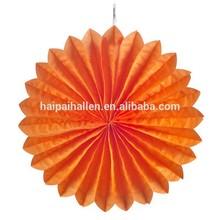 Orange Hanging Tissue Paper Fan 16 inch Flower Fan Wedding Party Decoration